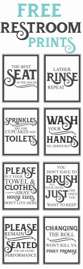 free bathroom printable-Free Vintage inspired bathroom printables-funny quotes to hang up in the restroom-farmhouse style-www.themountainviewcottage.net.net
