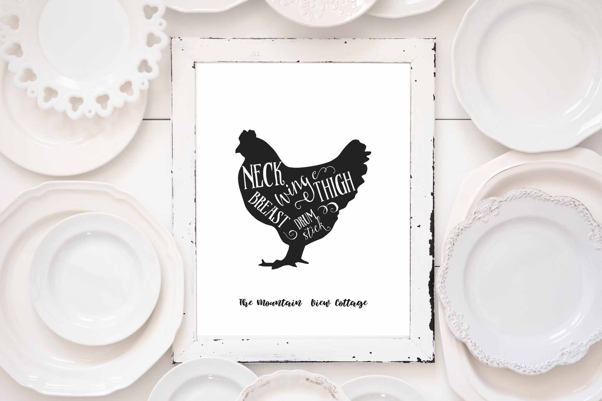 free farmhouse printables-butcher printables-chicken print-farmhouse animals