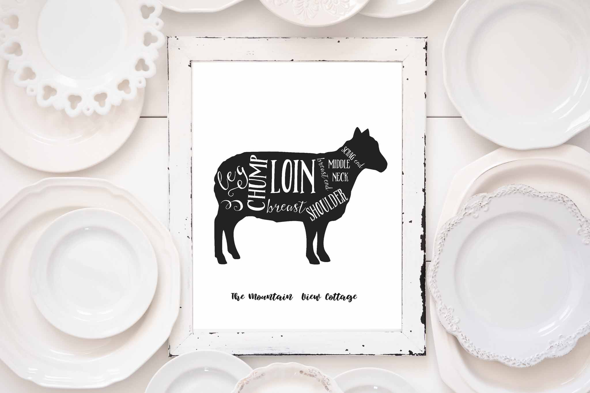 free farmhouse printable's-farmhouse prints-butcher prints-farm animals-lamb prints