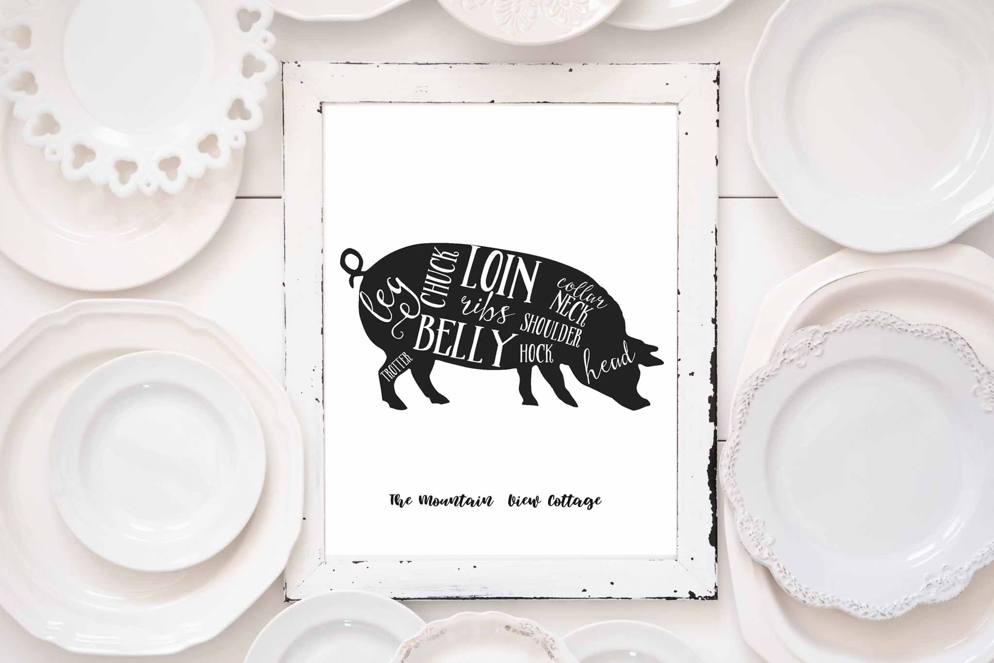 Free farmhouse printable-butcher printable-farm animals-pig butcher cuts