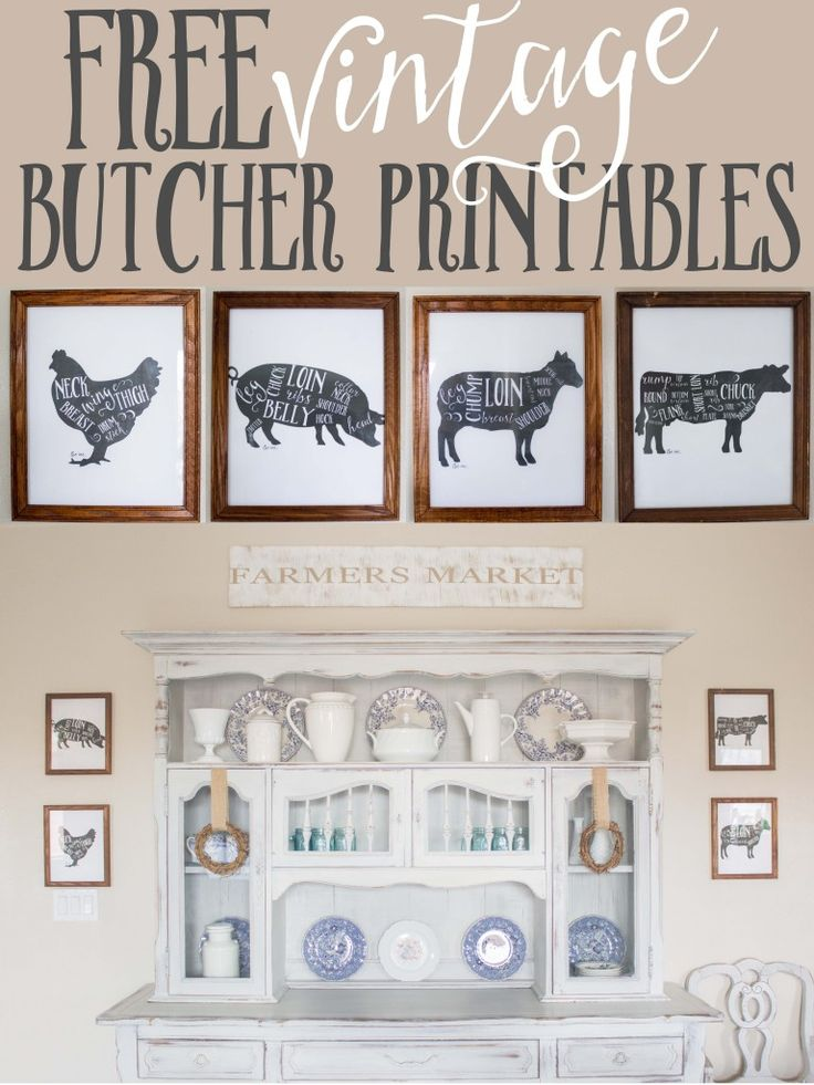 Free Printables-rustic butcher print animals