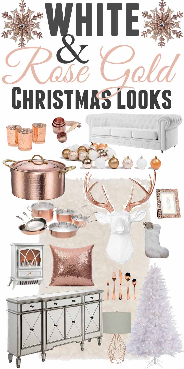 white rose gold christmas decor ideas