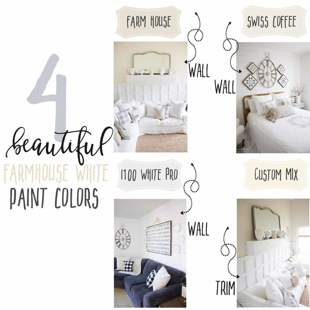 4 Beautiful White Farmhouse Inspired Paint Colors