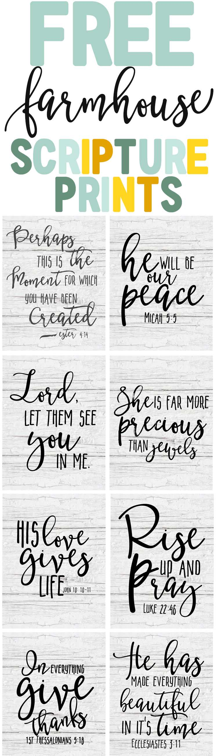 photo regarding Free Printable Scripture Verses titled Absolutely free Farmhouse Scripture Printables - The Mountain Feeling Cottage