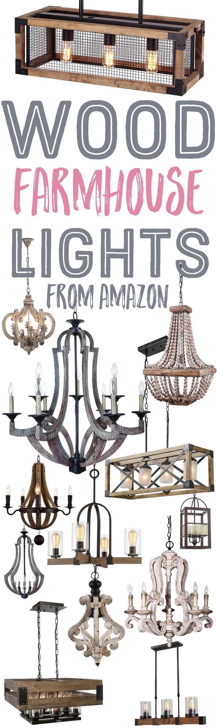 Wood farmhouse style chandeliers and lights from amazon the wood farmhouse style chandeliers and lights from amazon aloadofball Choice Image