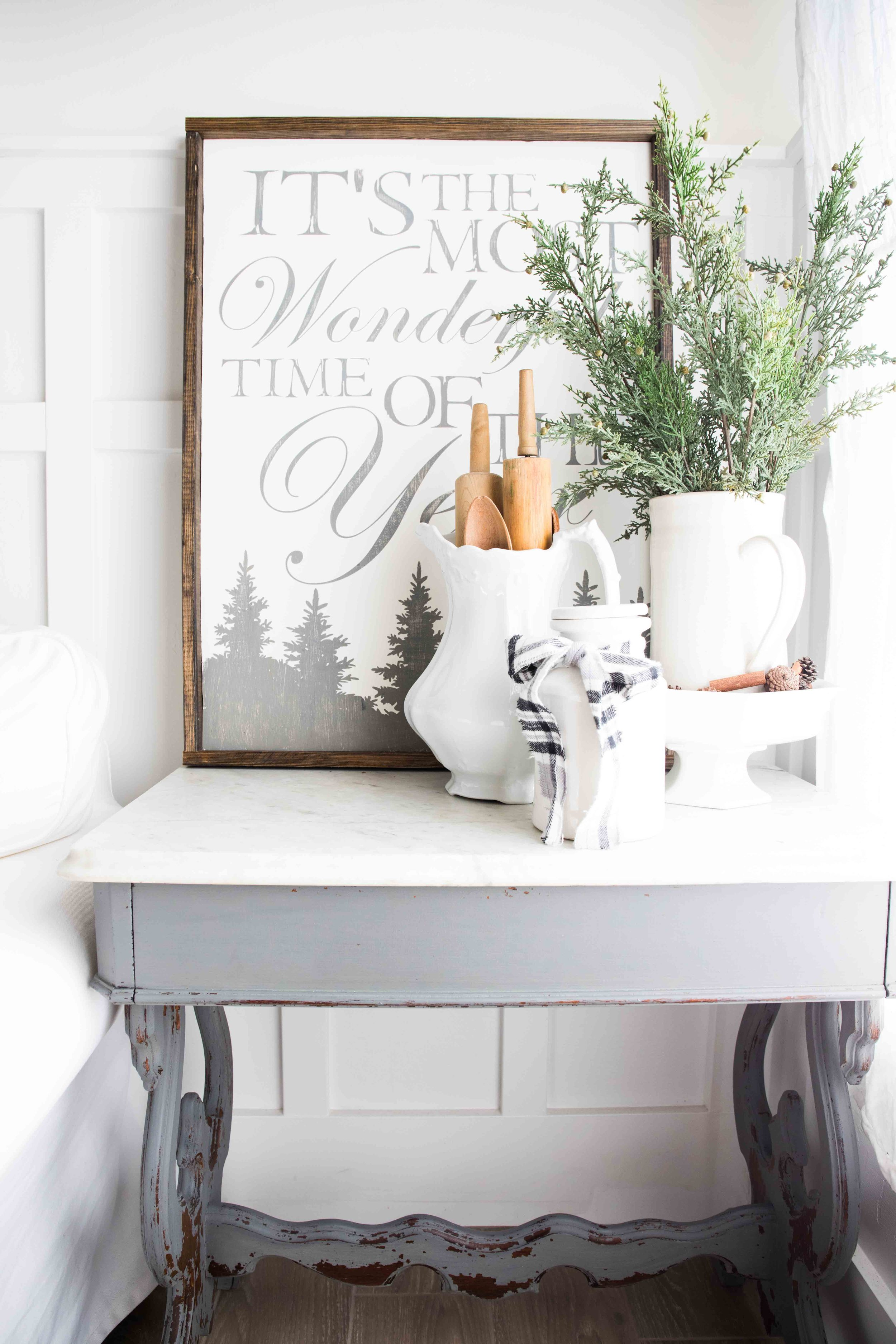 below you will find the video tutorial for how to make this farmhouse christmas sign with the phrase its the most wonderful time of the year complete - A Farmhouse Christmas