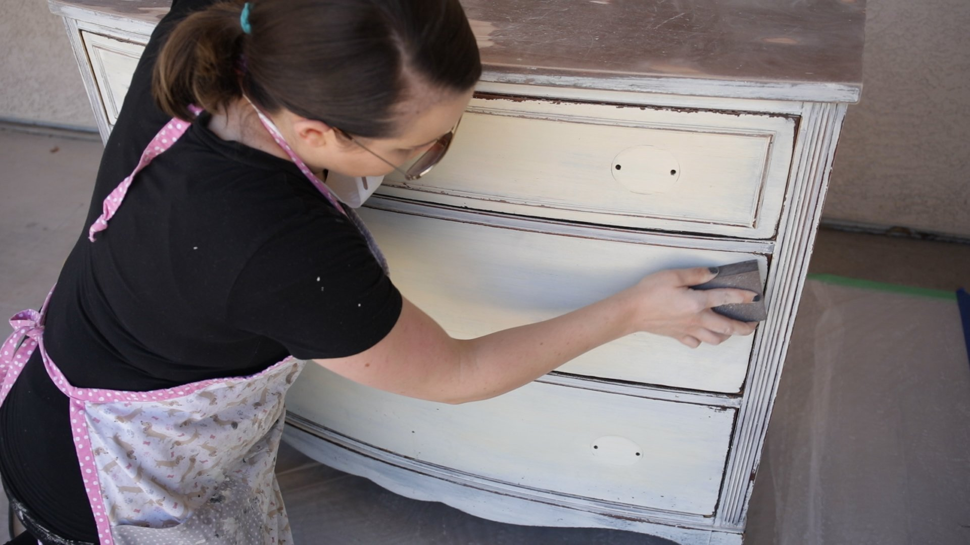 use a sanding block for the detailed features of a dresser when sanding-how to paint furniture