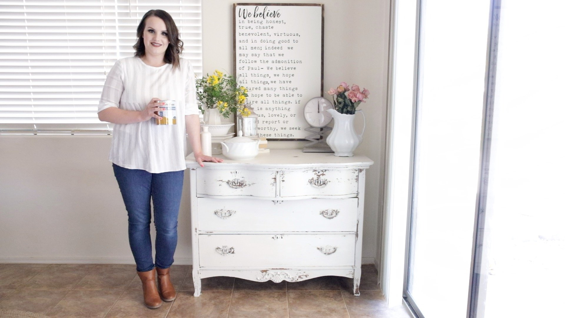 How to Seal a Chippy Milk Painted Dresser 3