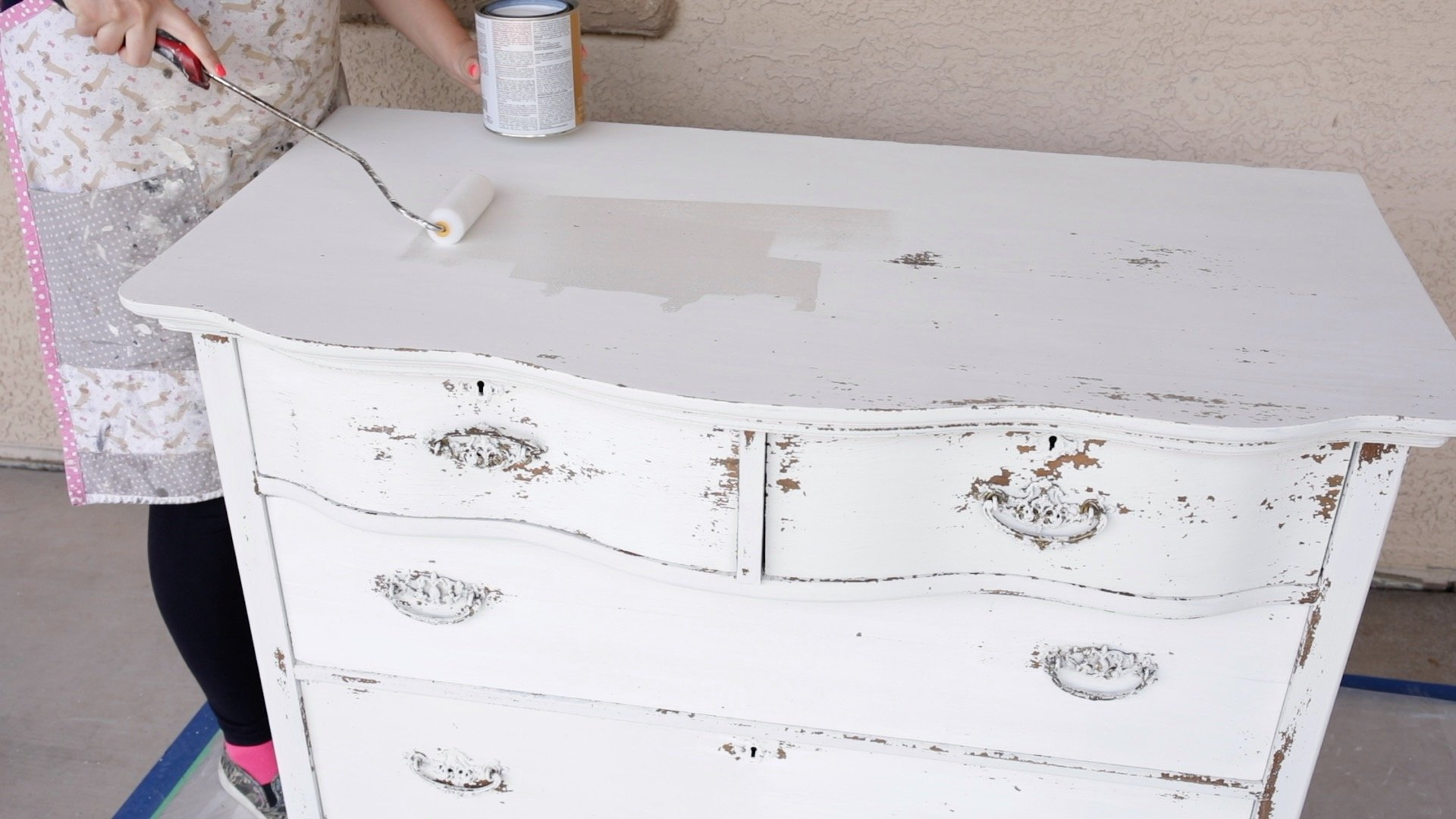 How to Seal a Chippy Milk Painted Dresser 4