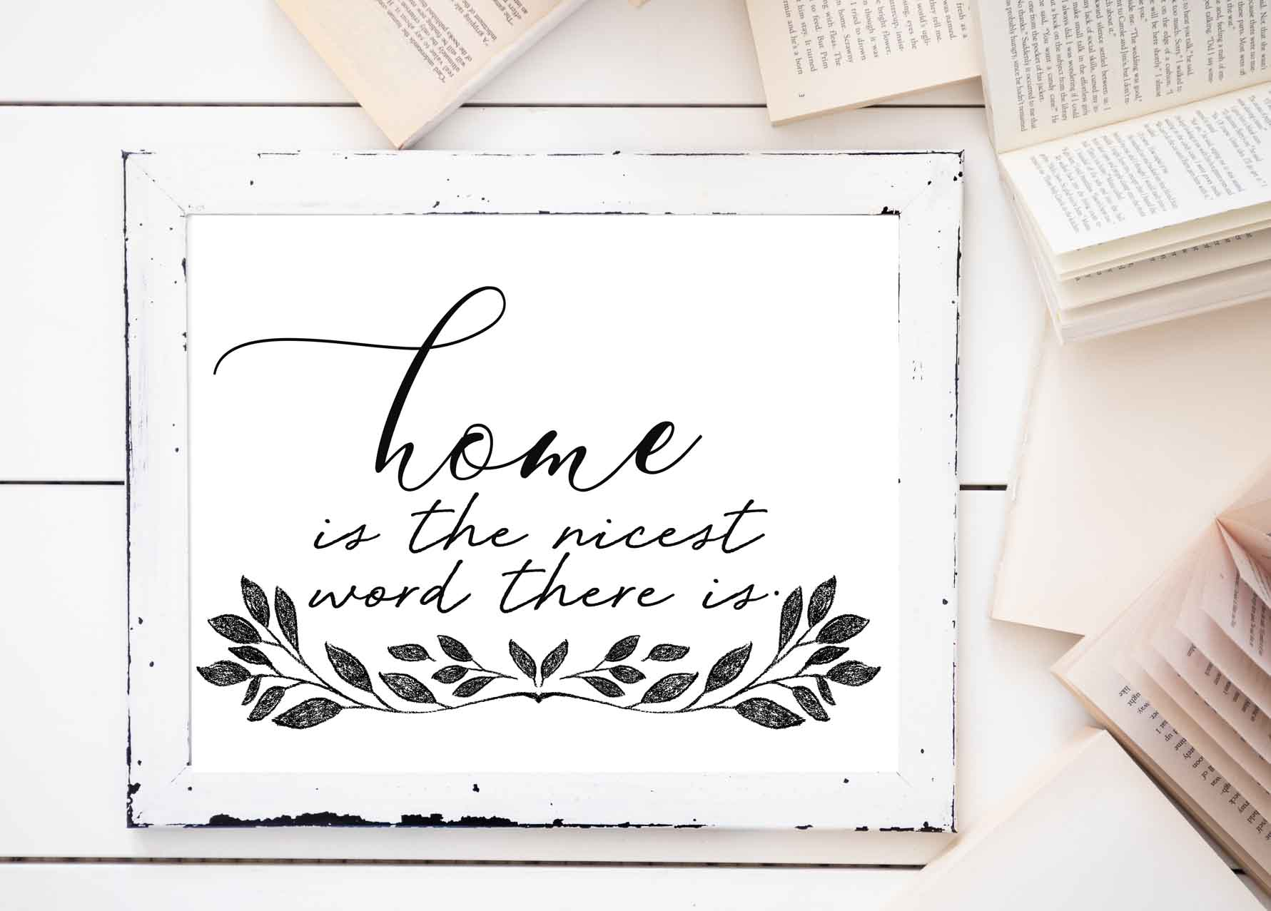 Farmhouse Family Printables-home is the nicest word there is