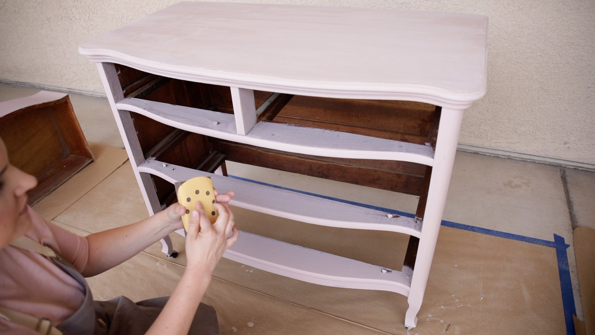 How Lightly Distress Milk Painted Furniture6