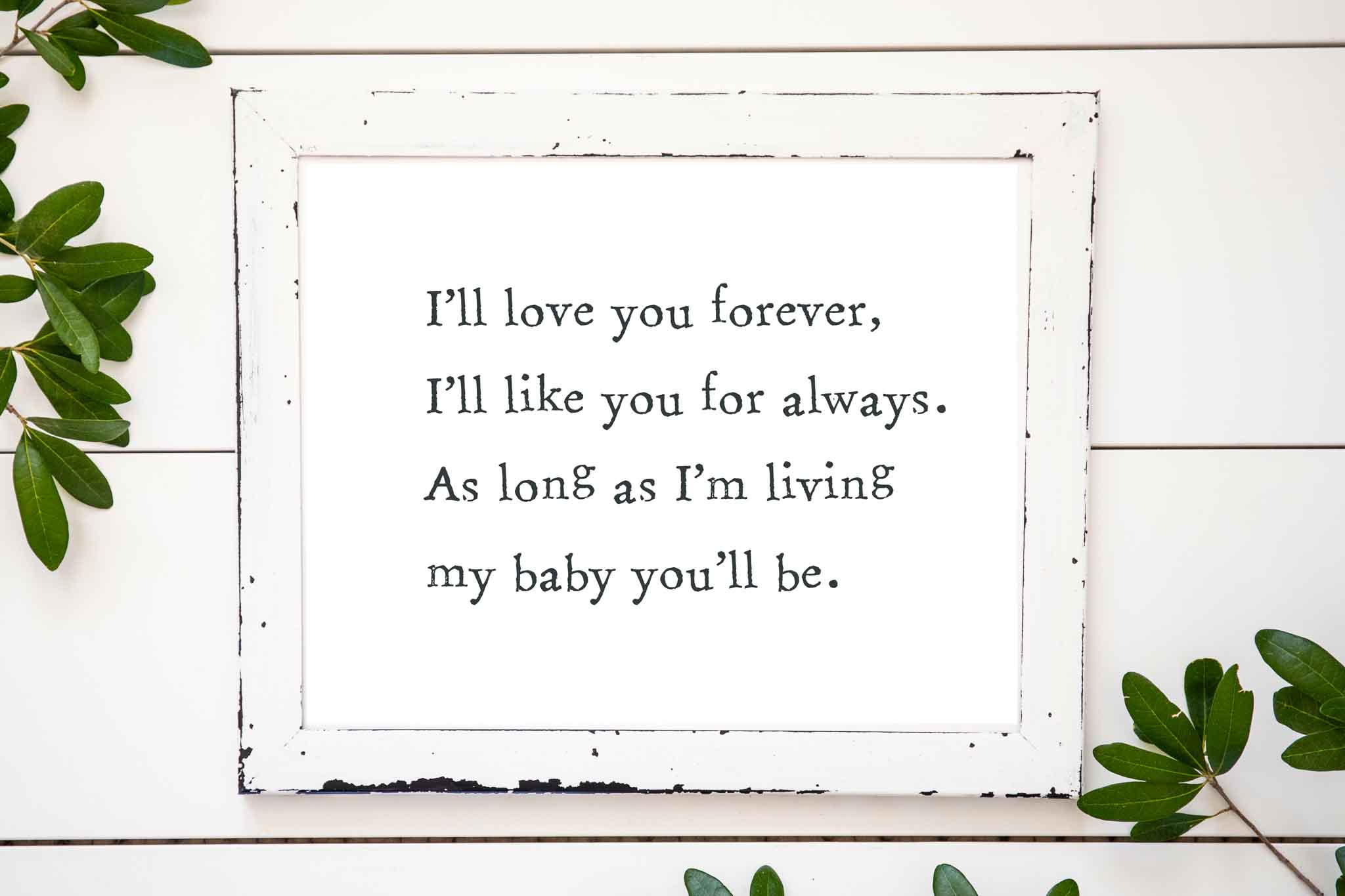 Boys wall art-i'll love you forever I'll like you forever as long as I'm living my baby you'll be