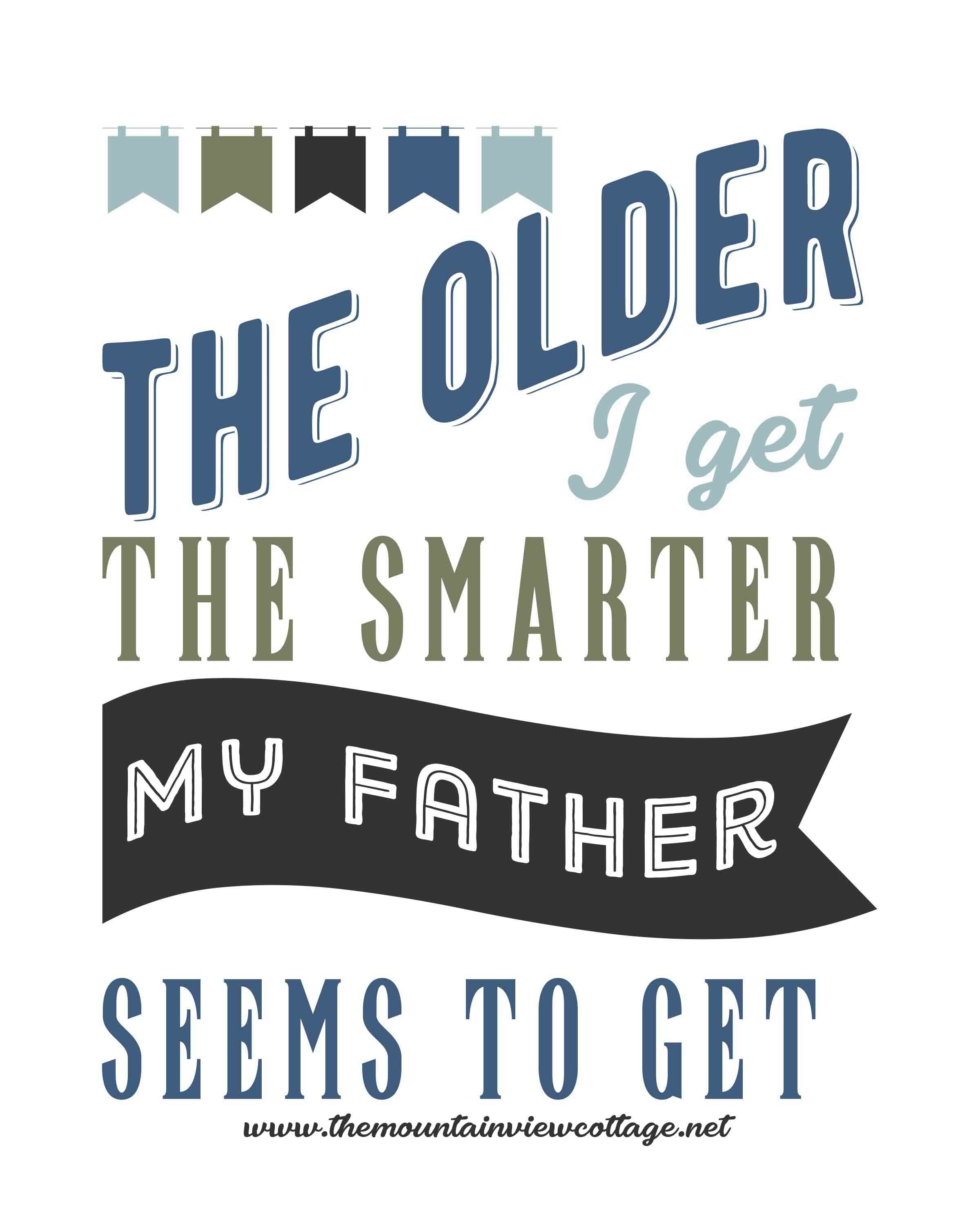 Dad quotes-Dad quotes from son-Dad quotes from daughter-the older I get the smarter my father seems to get