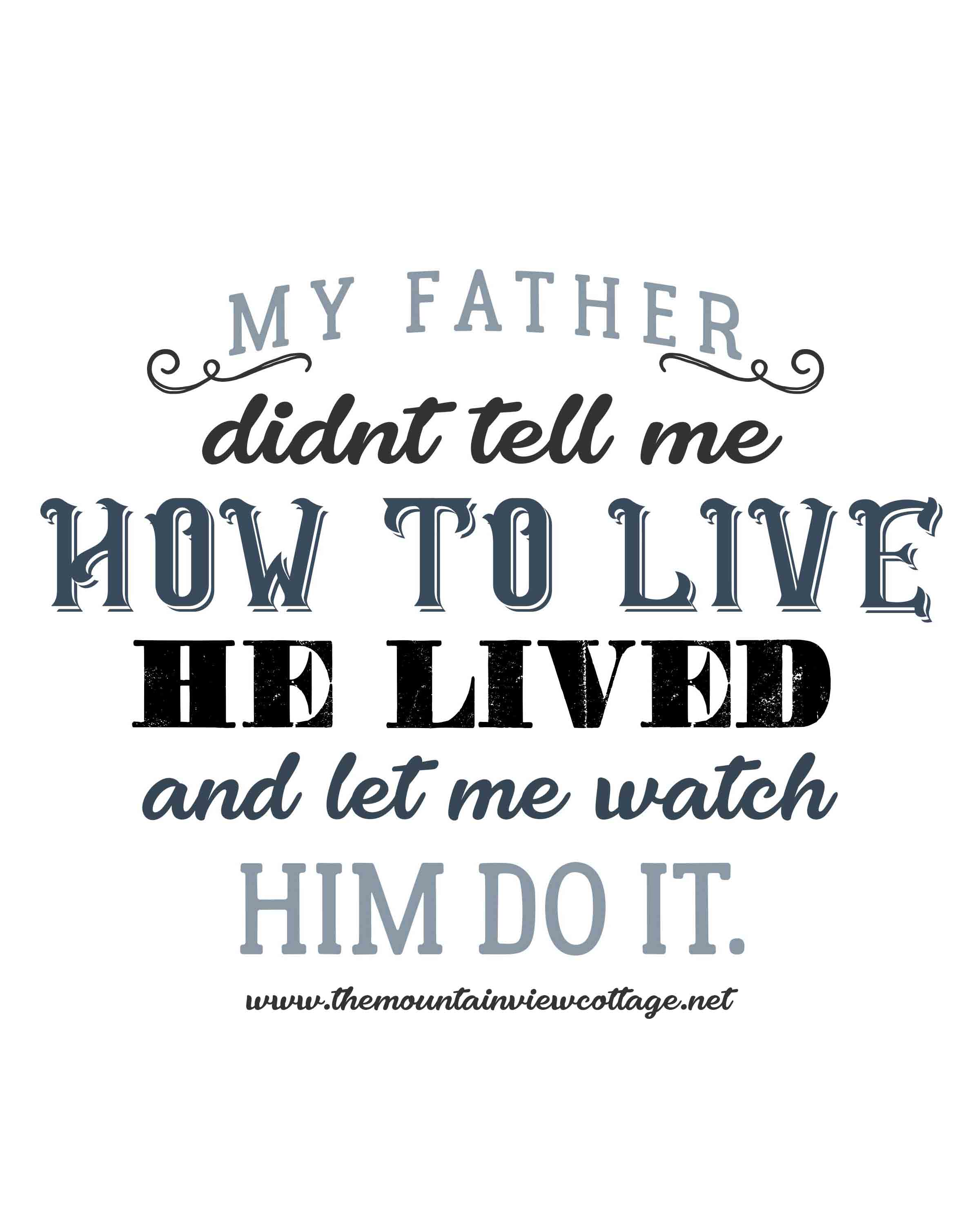 Dad quotes-Dad inspirational quotes-my father didnt tell me how to live he lived and let me watch him do it