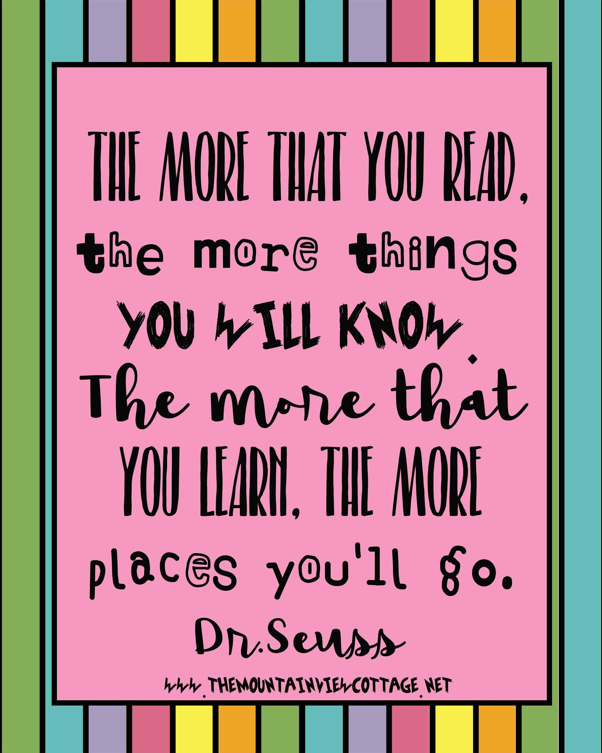 Dr.Seuss quotes about reading-reading quotes-book quotes-the more you read the more things you will know the more that you learn the more places you'll go