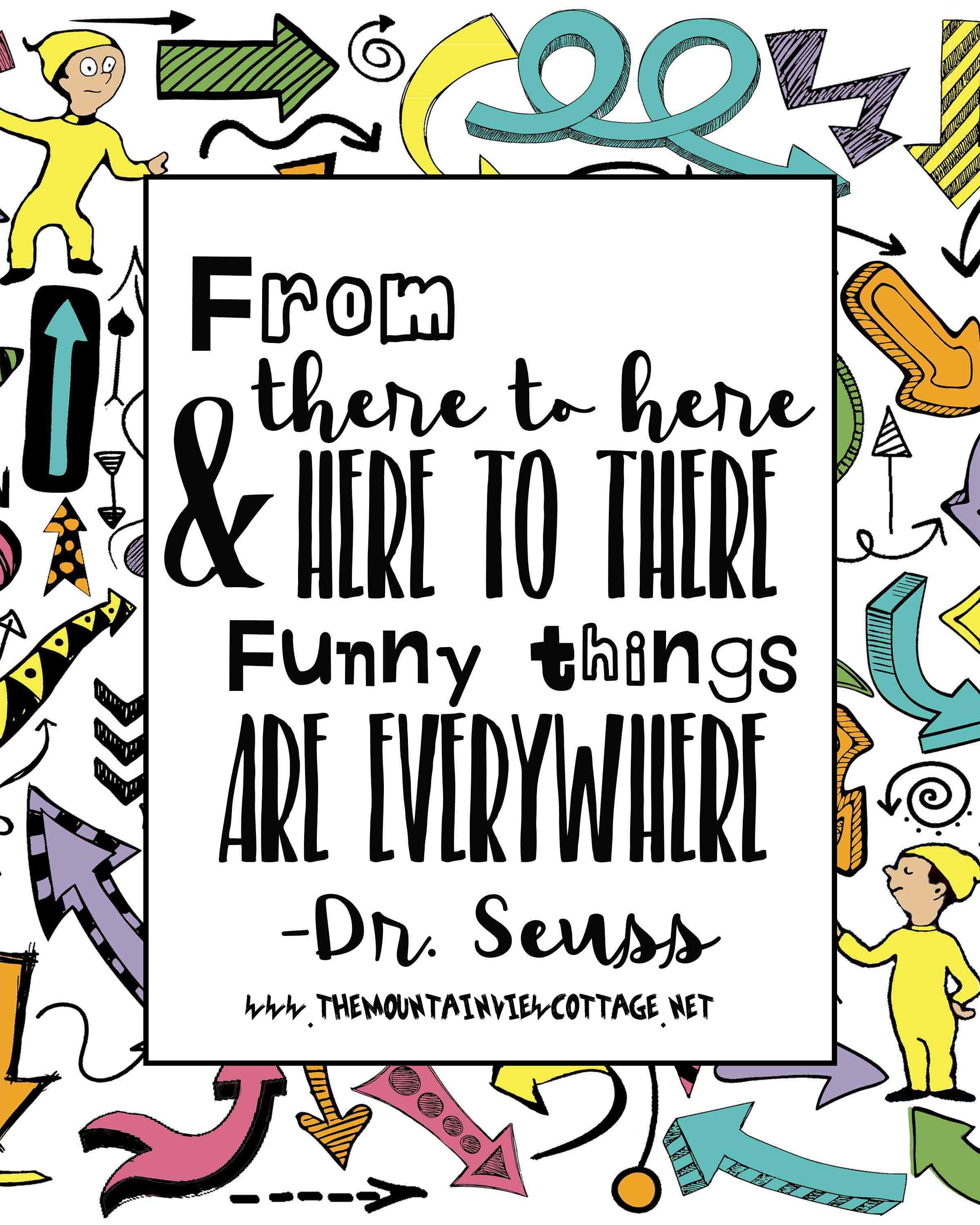 Dr.Seuss quote-funny quote-funny kid quotes-whimsical-from there to here from here to there funny things are everywhere