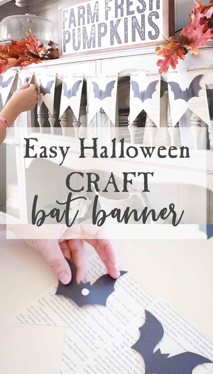 easy halloween craft-diy adorable book page bat banner