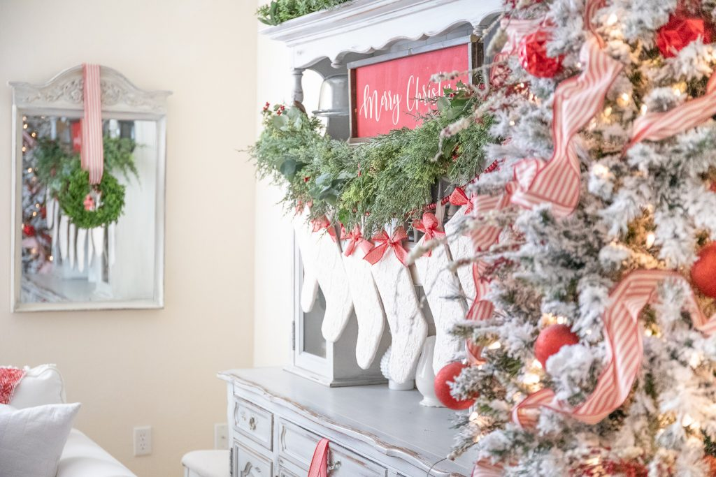 Christmas Decorations-Red and Green Classic Christmas Decor Mantle Stockings Flocked Christmas Tree