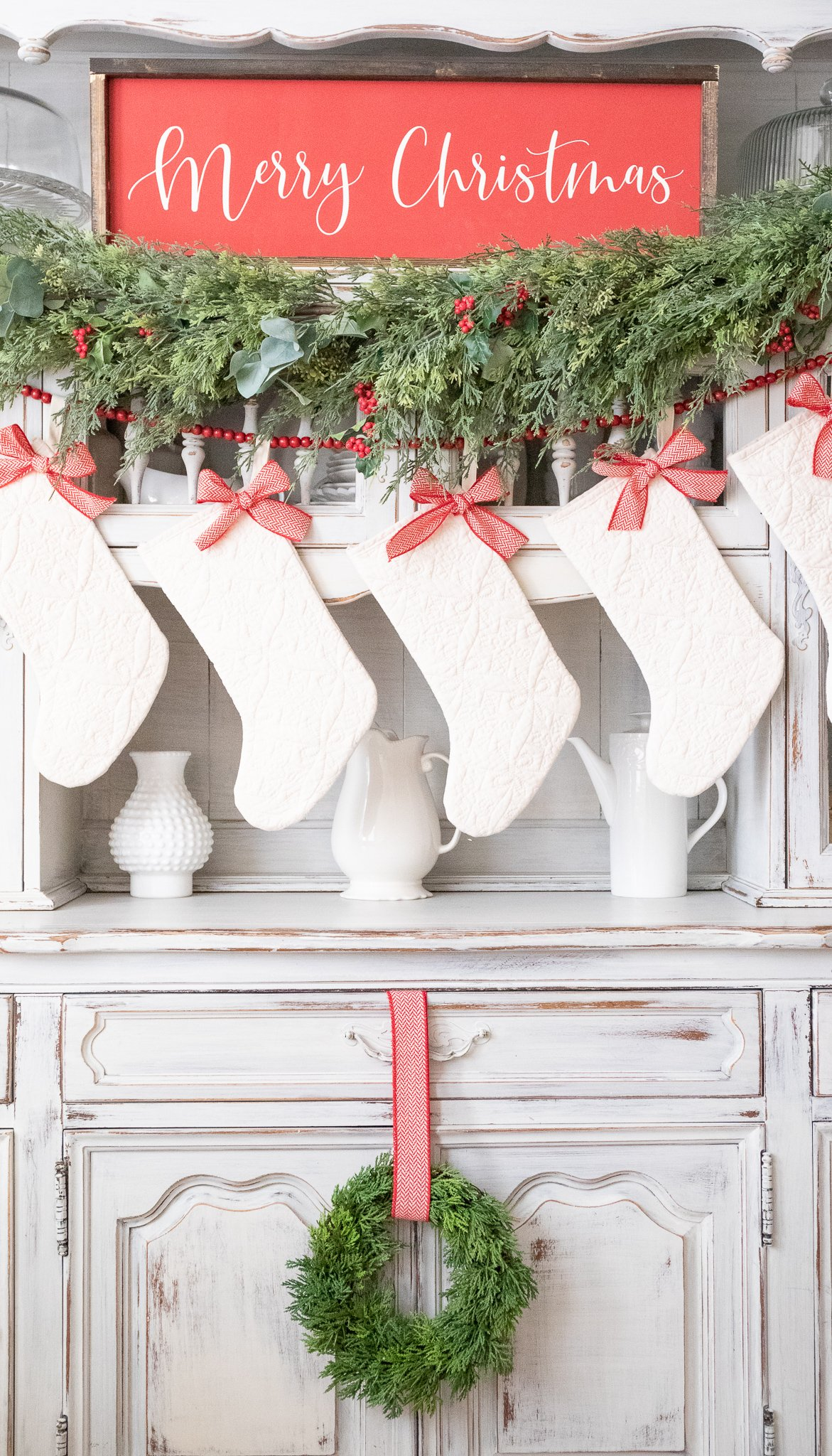 Christmas Decorations-Red and Green Classic Christmas Decor Mantle Stockings Flocked Christmas Tree white christmas stockings