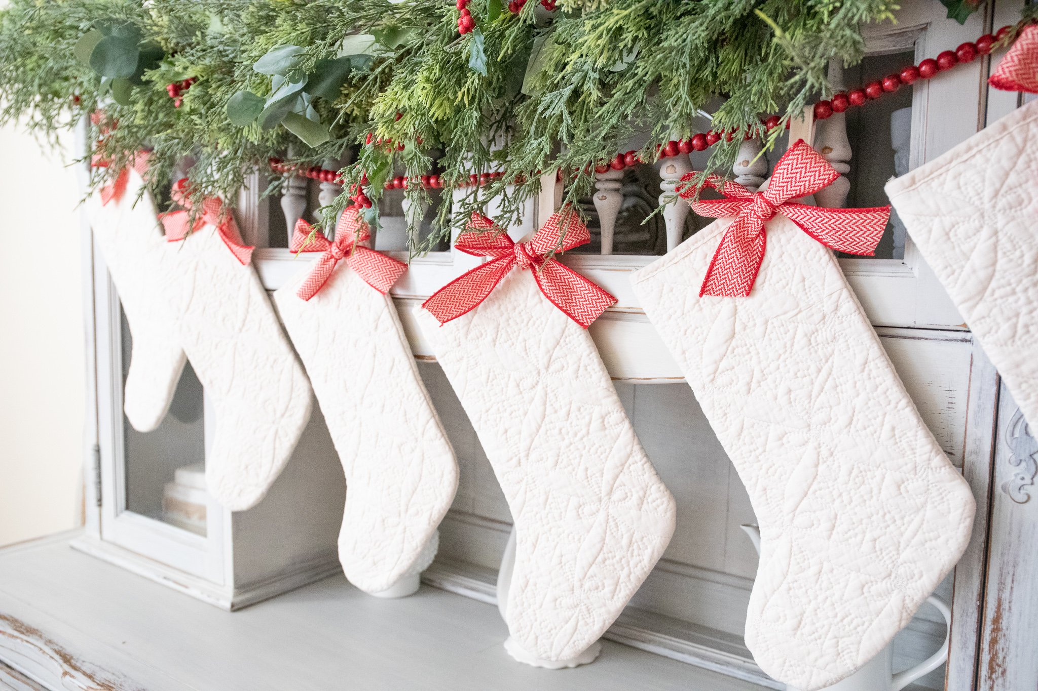 Christmas Decorations-Red and Green Classic Christmas Decor Mantle Stockings