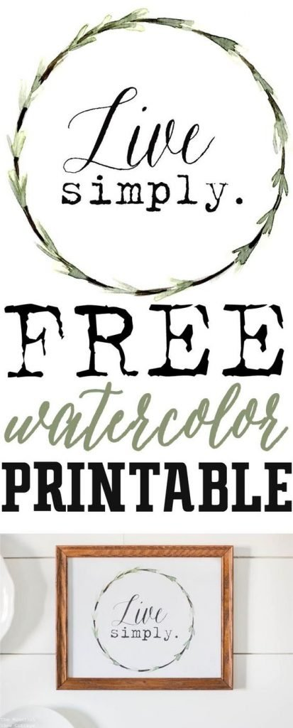 Live Simply Watercolor Free Printable